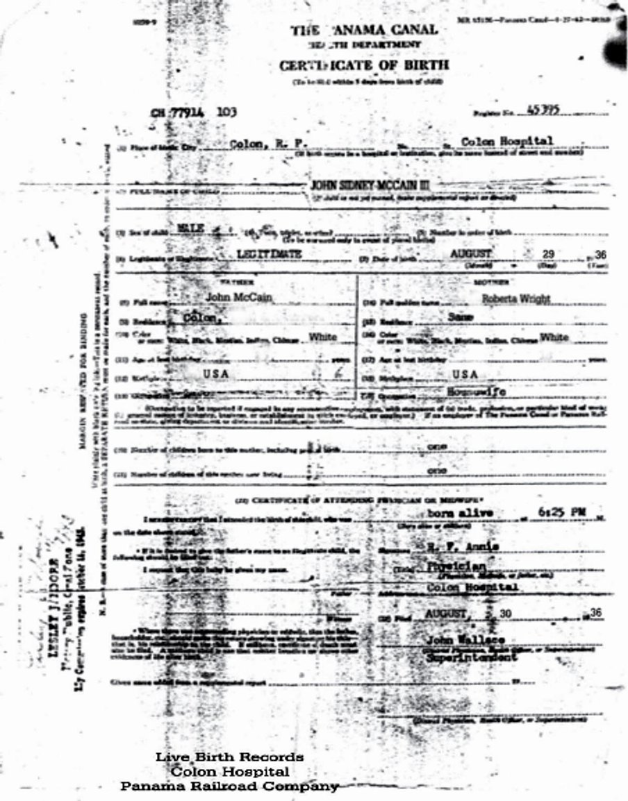 John mccain citizen of panama at birth natural born citizen according to the birth certificate aiddatafo Choice Image
